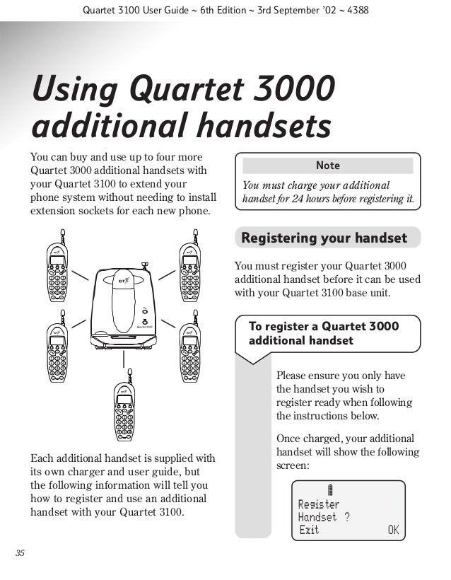 Bt quartet 3100 User Guide from Telephones Online www