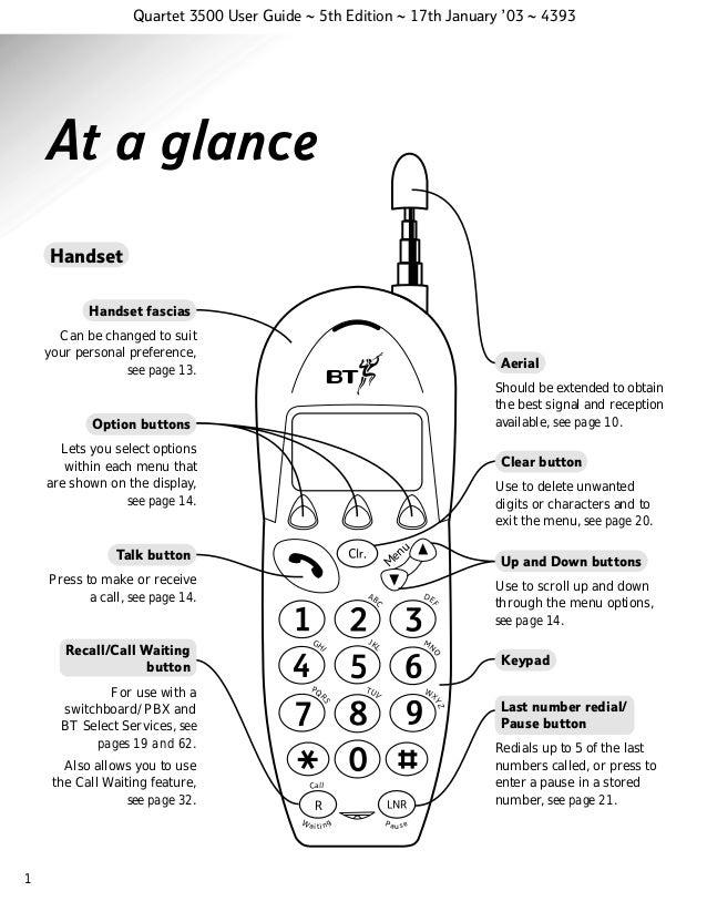 Bt quartet 3500 User Guide from Telephones Online www