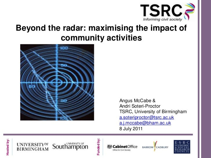 Beyond the radar: maximising the impact of community activities<br />Angus McCabe & <br />Andri Soteri-Proctor<br />TSRC, ...