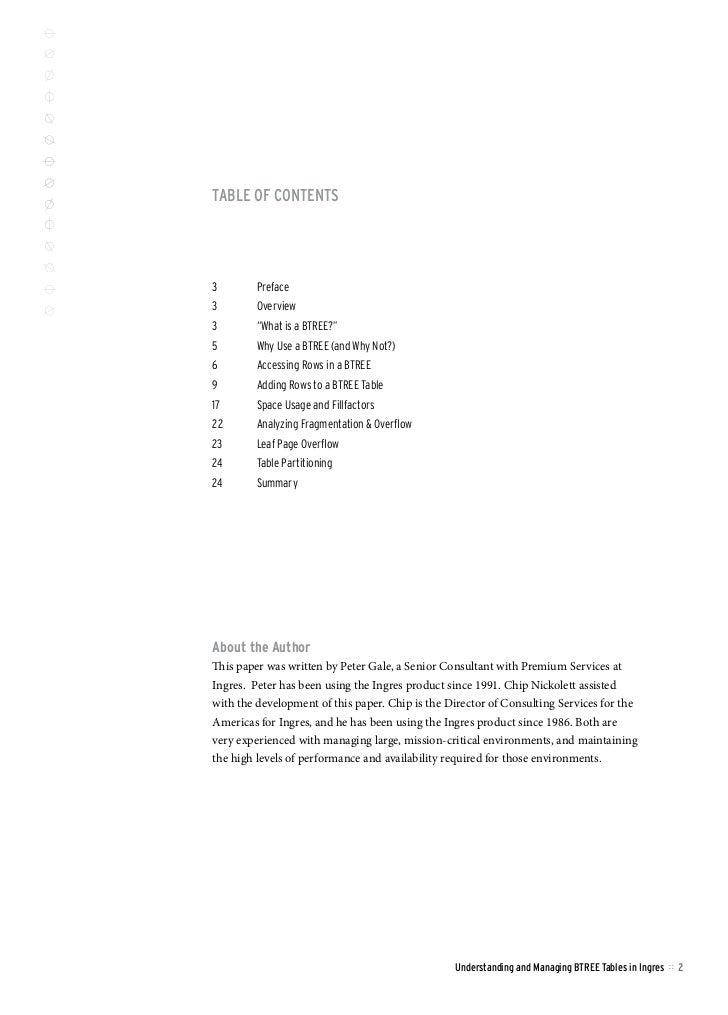 Understanding and Managing BTREE Tables in Ingres