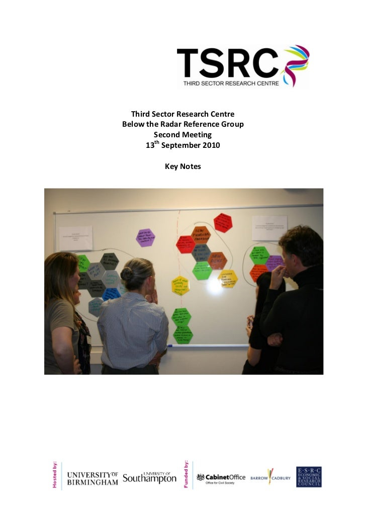 Third Sector Research CentreBelow the Radar Reference Group         Second Meeting      13th September 2010          Key N...