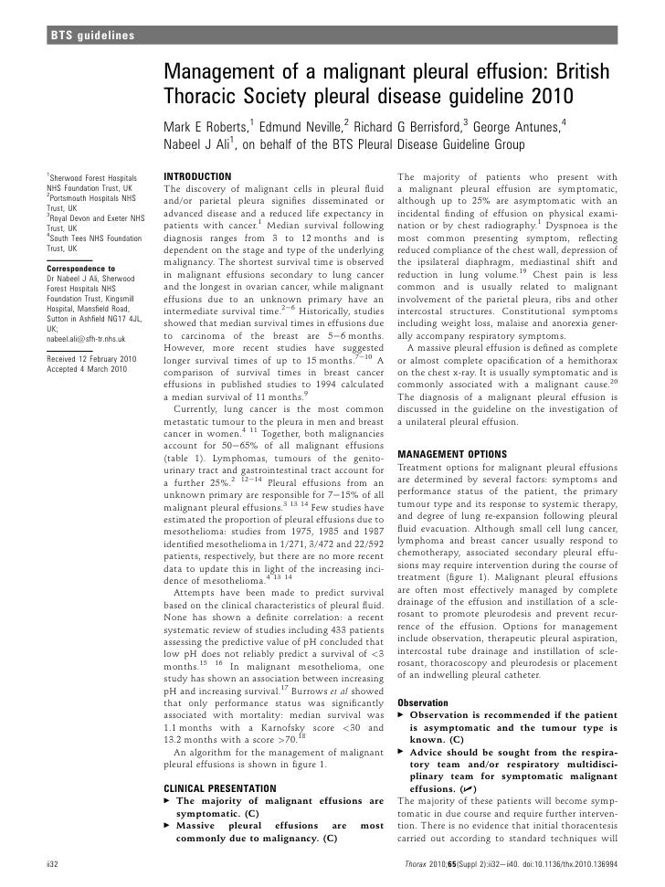 BTS guidelines                               Management of a malignant pleural effusion: British                          ...