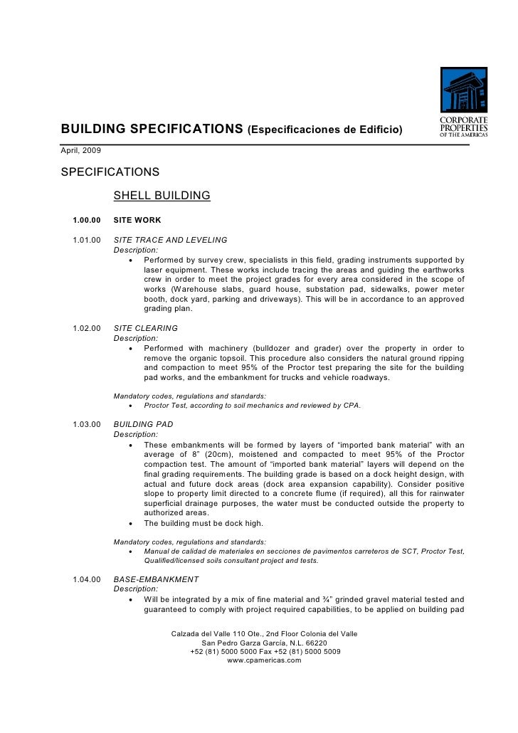 BUILDING SPECIFICATIONS Especificaciones De Edificio April 2009 SHELL