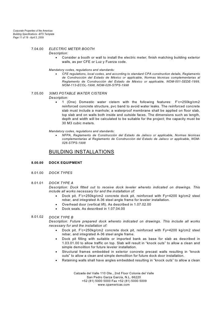 construction spec sheet template