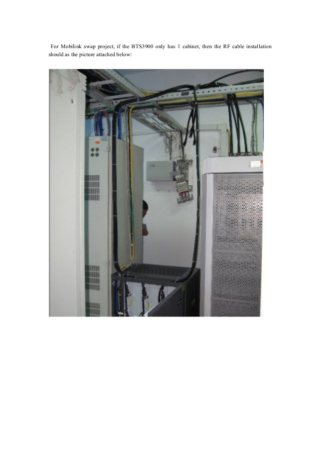 For Mobilink swap project, if the BTS3900 only has 1 cabinet, then the RF cable installation should as the picture attache...