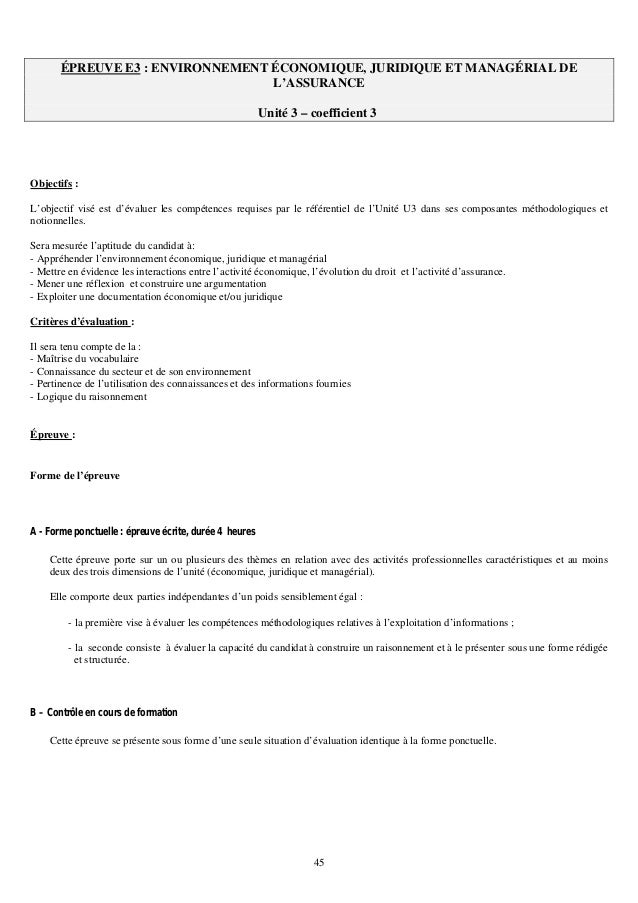 Referentiel Du Bts Assurance