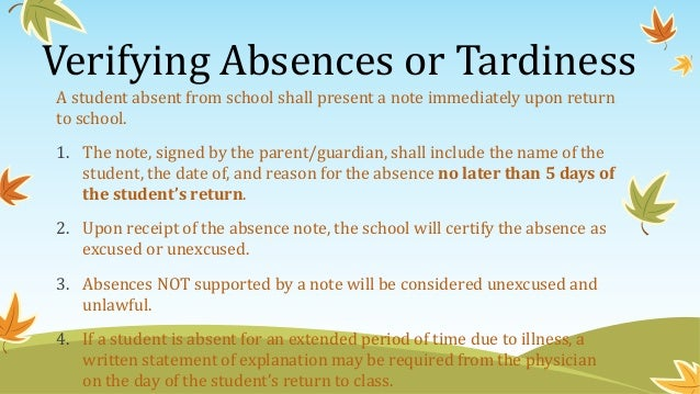 Back to School Night Presentation for Grade 3 – Absence Note