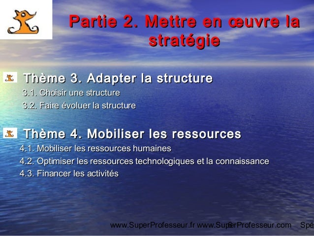 www.SuperProfesseur.fr www.SuperProfesseur.com Spé6 Partie 2.Partie 2. Mettre en œuvre laMettre en œuvre la stratégiestrat...
