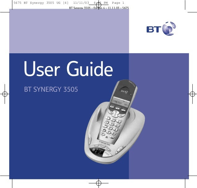 BT Synergy 3505 Telephone User Guide from Telephones Online