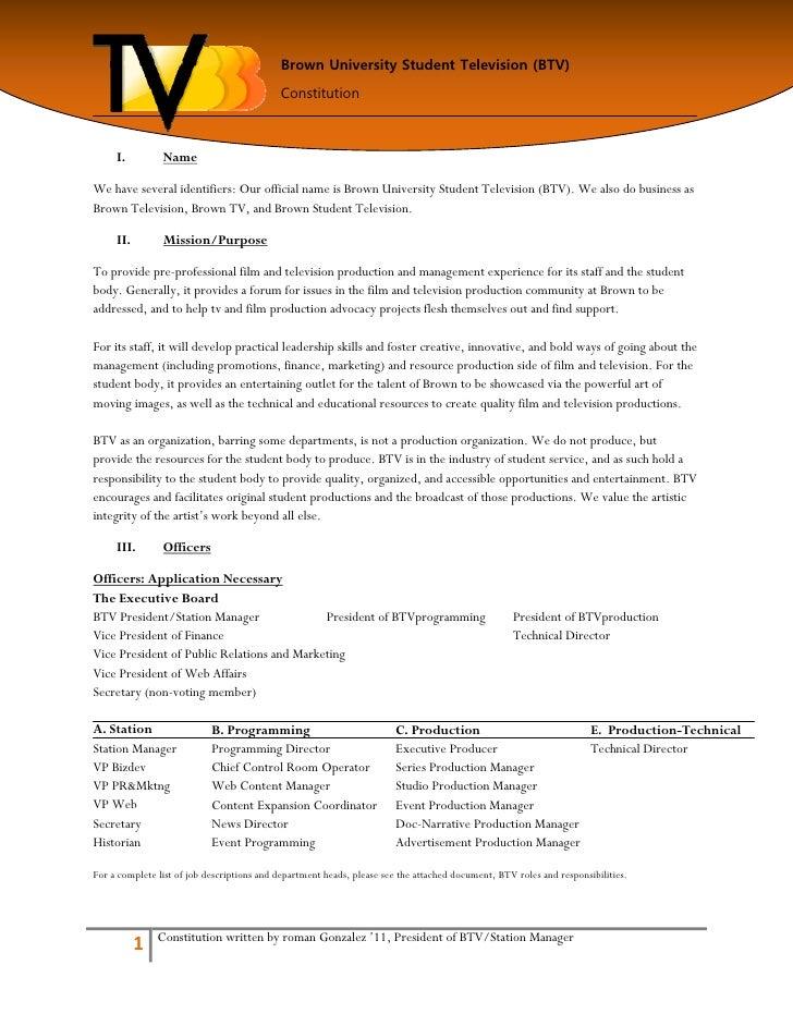 Brown University Student Television (BTV)                                             Constitution         I.          Nam...