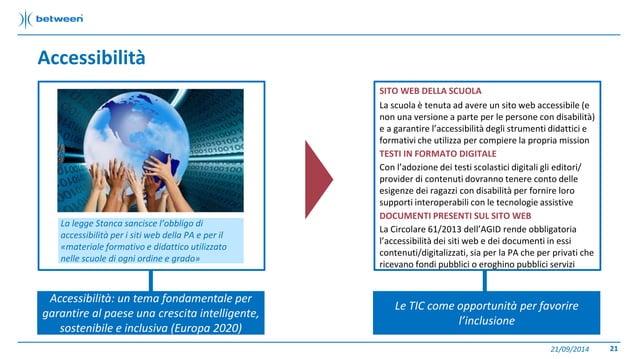 Accessibilità  21/09/2014 21  Accessibilità: un tema fondamentale per  garantire al paese una crescita intelligente,  sost...