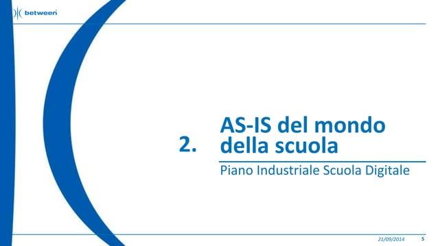 AS-IS del mondo  della scuola  Piano Industriale Scuola Digitale  21/09/2014 5  2.