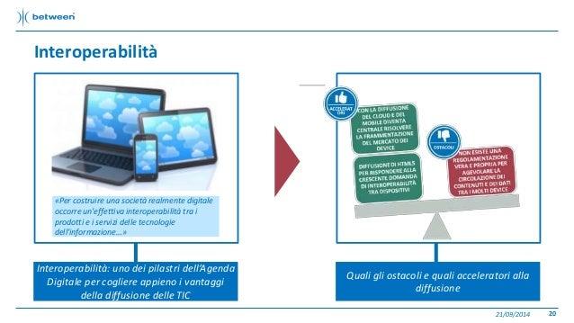 Interoperabilità  21/09/2014 20  Interoperabilità: uno dei pilastri dell'Agenda  Digitale per cogliere appieno i vantaggi ...