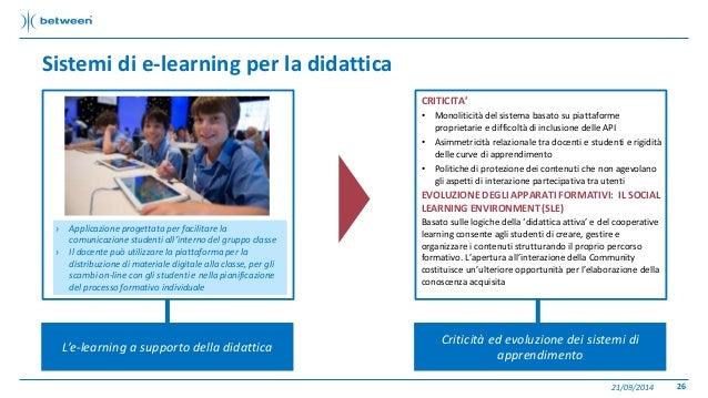 Sistemi di e-learning per la didattica  21/09/2014 26  L'e-learning a supporto della didattica  CRITICITA'  • Monoliticità...