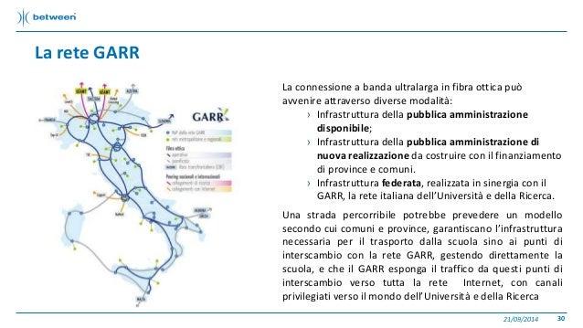 La rete GARR  La connessione a banda ultralarga in fibra ottica può  avvenire attraverso diverse modalità:  › Infrastruttu...