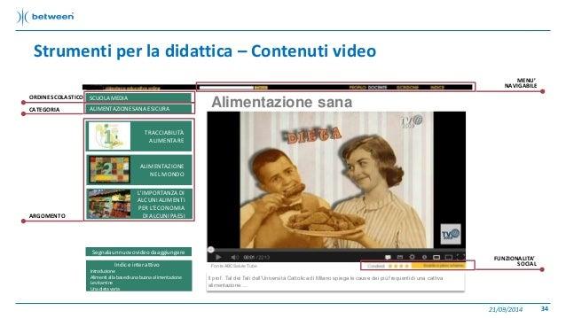 Strumenti per la didattica – Contenuti video  21/09/2014 34  Alimentazione sana  Fonte ABCSalute Tube  Il prof . Tal dei T...