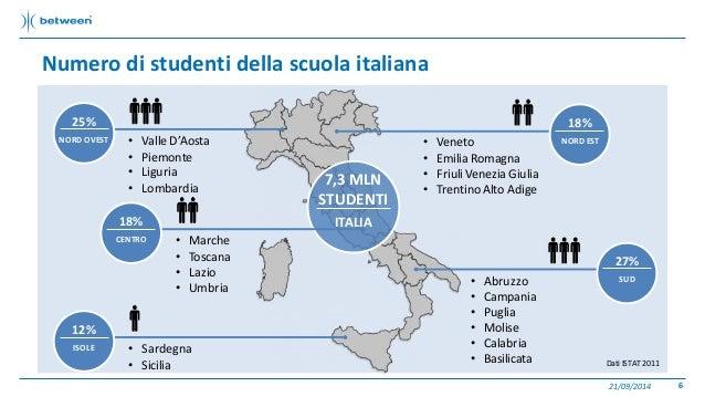 Numero di studenti della scuola italiana  21/09/2014 6  7,3 MLN  STUDENTI  ITALIA  25%  NORD OVEST • Valle D'Aosta  • Piem...