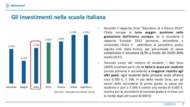 """› Secondo il rapporto Ocse """"Education at a Glance 2012""""  l'Italia occupa la terza peggior posizione nella  graduatoria del..."""