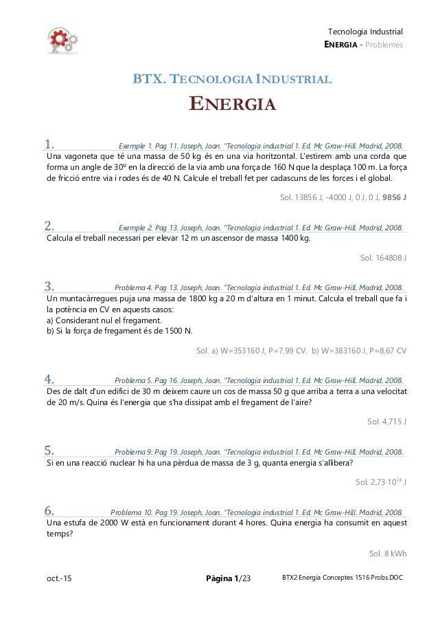 Tecnologia Industrial ENERGIA - Problemes oct.-15 Pàgina 1/23 BTX2 Energia Conceptes 1516 Probs.DOC BTX. TECNOLOGIA INDUST...