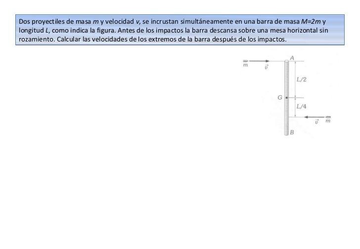 Dos proyectiles de masa m y velocidad v, se incrustan simultáneamente en una barra de masa M=2m ylongitud L, como indica l...