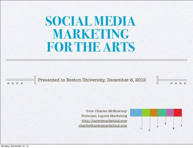 SOCIAL MEDIA                              MARKETING                             FOR THE ARTS                          Pres...