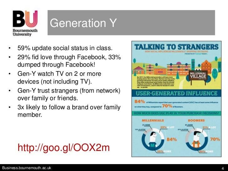 Generation Y   •    59% update social status in class.   •    29% fid love through Facebook, 33%        dumped through Fac...
