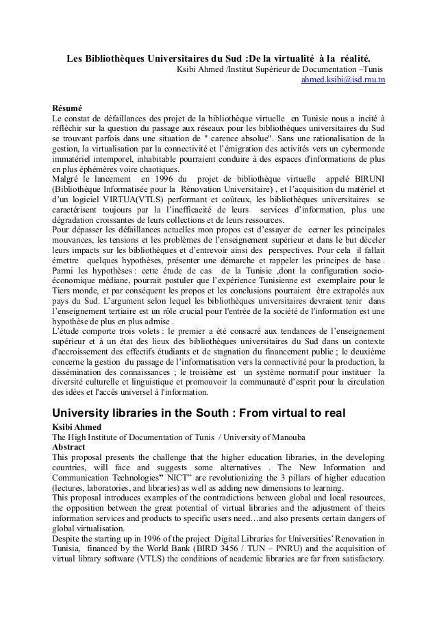 Les Bibliothèques Universitaires du Sud :De la virtualité à la réalité.  Ksibi Ahmed /Institut Supérieur de Documentation ...