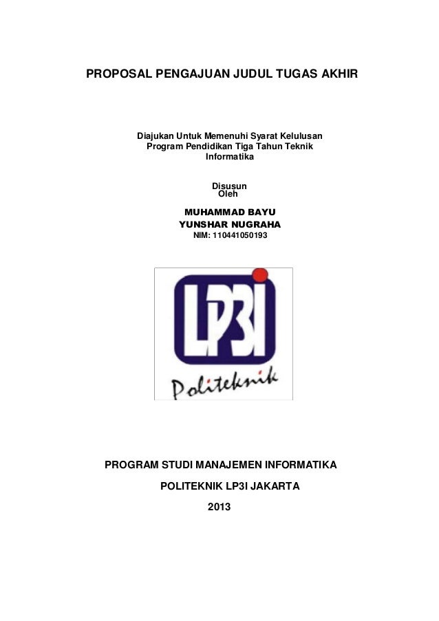 Contoh Cover Proposal Pengajuan Judul Skripsi Mi Putri