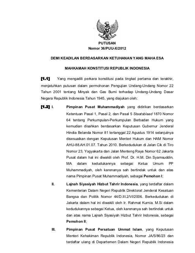 Bubarkan bp migas putusan sidang 36 puu 2012 migas - telah baca 13 nov 2012