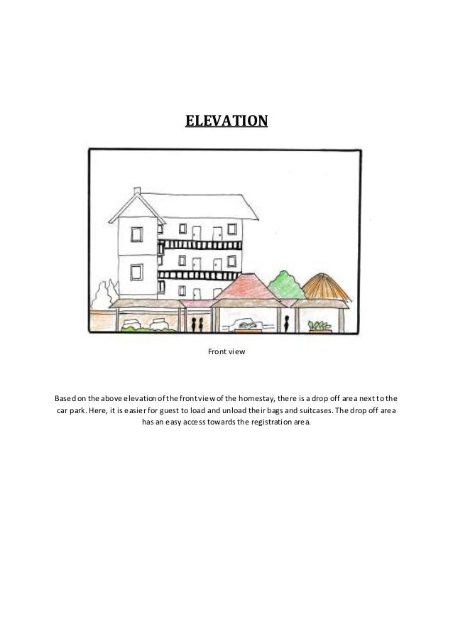 ELEVATION Front view Basedon the above elevationof the frontview of the homestay, there is a drop off area next to the car...