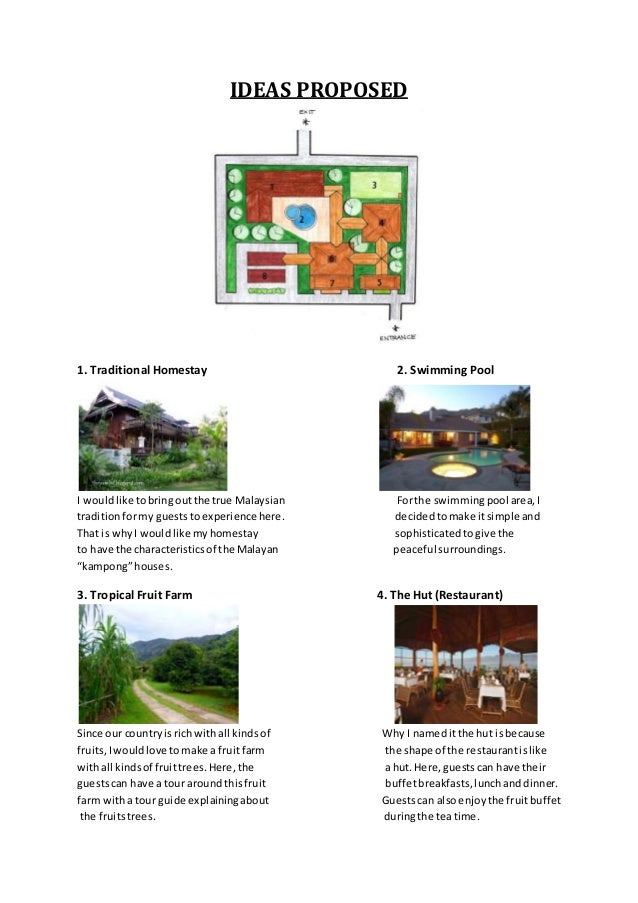IDEAS PROPOSED 1. Traditional Homestay 2. Swimming Pool I wouldlike tobringoutthe true Malaysian Forthe swimmingpool area,...