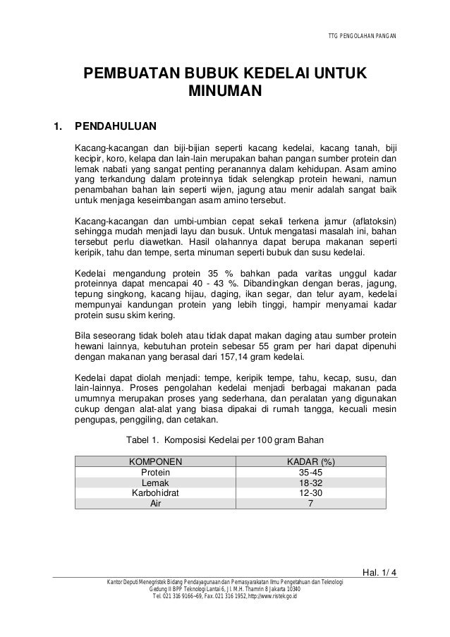 TTG PENGOLAHAN PANGAN Hal. 1/ 4 Kantor Deputi Menegristek Bidang Pendayagunaan dan Pemasyarakatan Ilmu Pengetahuan dan Tek...