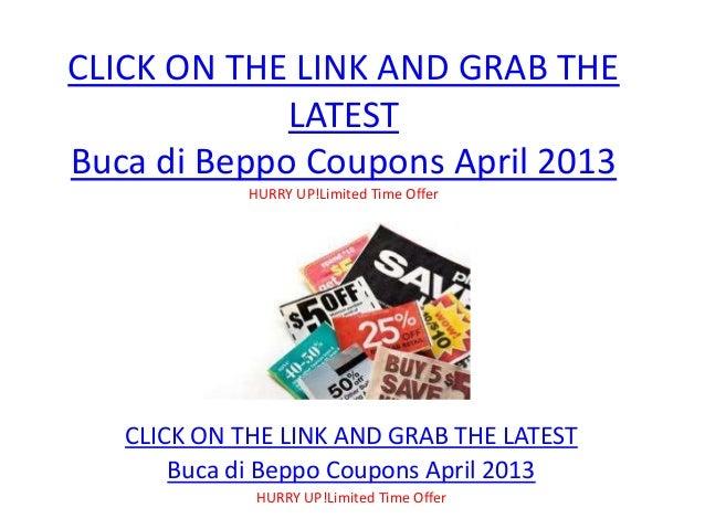 image relating to Buca Di Beppo Printable Coupon referred to as Buca di Beppo Discount codes April 2013 Printable Buca di Beppo
