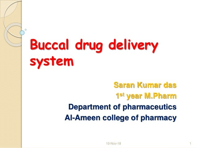 Buccal drug delivery system Saran Kumar das 1st year M.Pharm Department of pharmaceutics Al-Ameen college of pharmacy 10-N...