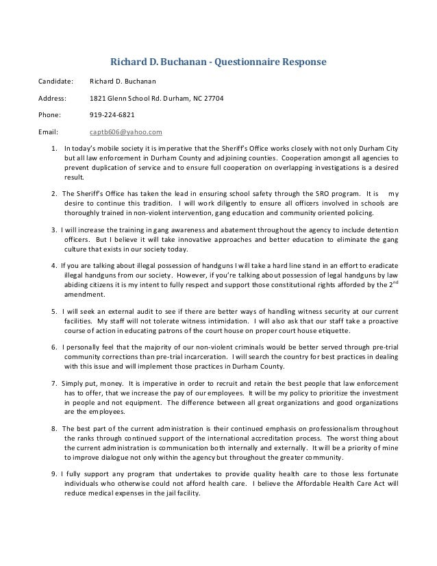 RichardD.Buchanan‐QuestionnaireResponse Candidate: RichardD.Buchanan Address: 1821GlennSchoolRd.Durham,NC...
