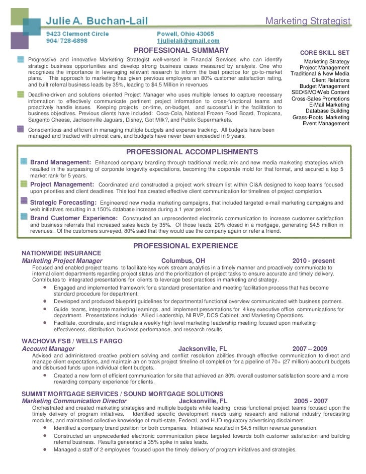 marketing strategist professional summary. Resume Example. Resume CV Cover Letter