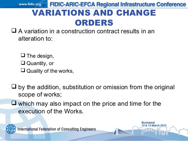 Variations Under The FIDIC Form Subject To EU Procurement Law - Construction contract change order template