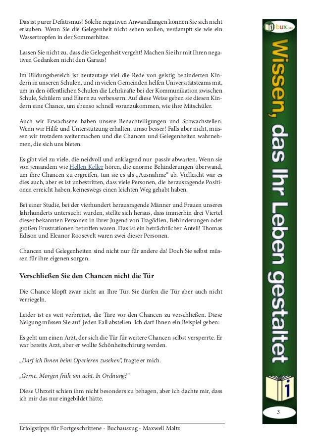 Erfolgstipps für Fortgeschrittene - Buchauszug - Maxwell Maltz 3 Das ist purer Defätismus! Solche negativen Anwandlungen k...