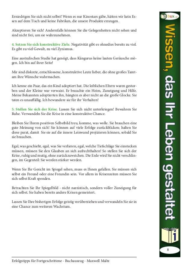 Erfolgstipps für Fortgeschrittene - Buchauszug - Maxwell Maltz 8 Erniedrigen Sie sich nicht selbst! Wenn es nur Kinostars ...