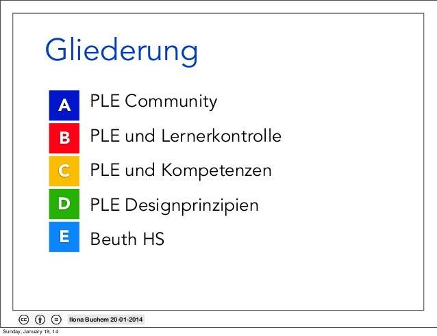 Gliederung A • B • C • D • E •  PLE Community PLE und Lernerkontrolle PLE und Kompetenzen PLE Designprinzipien Beuth HS  I...