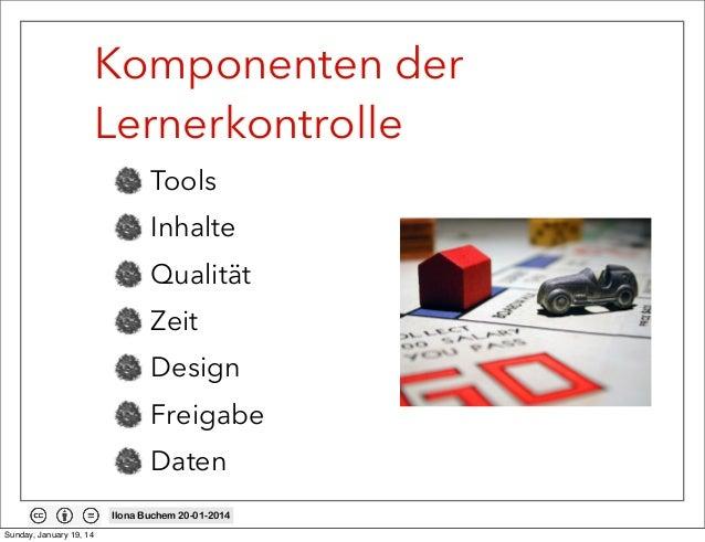 Komponenten der Lernerkontrolle Tools Inhalte Qualität Zeit Design Freigabe Daten Ilona Buchem 20-01-2014 Sunday, January ...