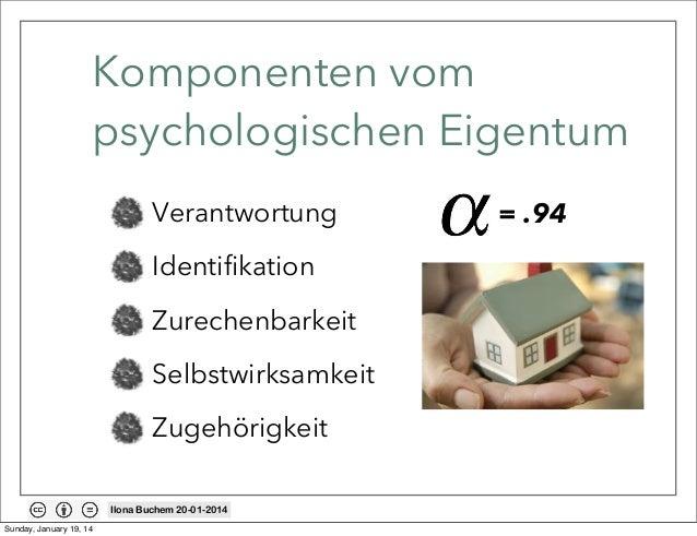 Komponenten vom psychologischen Eigentum Verantwortung Identifikation Zurechenbarkeit Selbstwirksamkeit Zugehörigkeit Ilon...