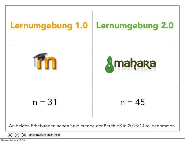 Lernumgebung 1.0 Lernumgebung 2.0  n = 31  n = 45  An beiden Erhebungen haben Studierende der Beuth HS in 2013/14 teilgeno...