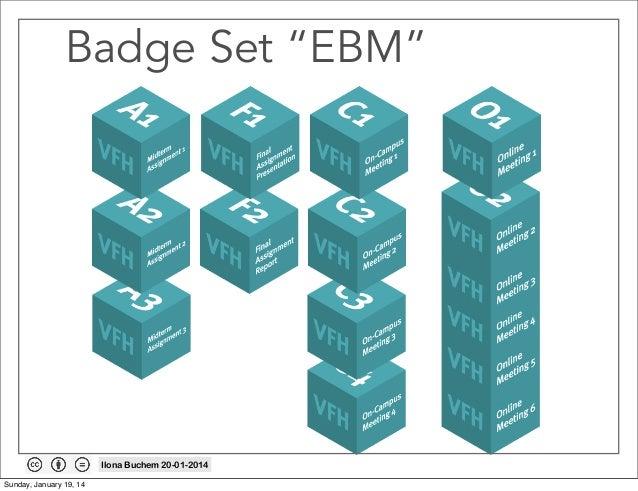 """Badge Set """"EBM""""  Ilona Buchem 20-01-2014 Sunday, January 19, 14"""