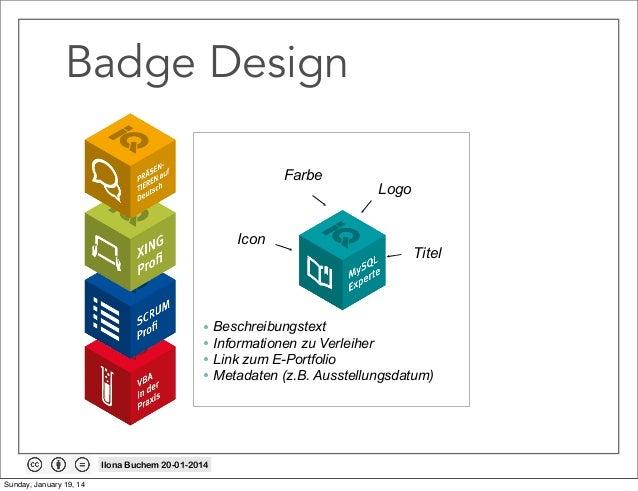 Badge Design Farbe  Icon  Logo  Titel  • Beschreibungstext • Informationen zu Verleiher • Link zum E-Portfolio • Metadaten...