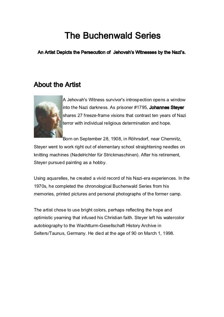 The Buchenwald Series  An Artist Depicts the Persecution of Jehovah's Witnesses by the Nazi's.About the Artist            ...