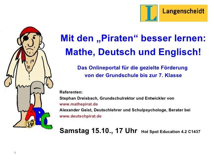 """Mit den """"Piraten"""" besser lernen:  Mathe, Deutsch und Englisch! Das Onlineportal für die gezielte Förderung  von der Grunds..."""