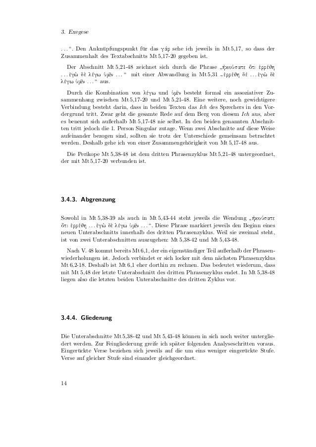 3.5. Sprachlich-Syntaktische Analyse Mt 5,38-426 38                   :   ê Ó × Ø        Ø  ÖÖ        :   Unpers¨nliches G...