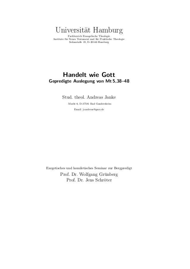 Die hier vorliegende Schrift entstand als exegetische Hauptseminararbeit undGroßer homiletischer Entwurf zum Exegetischen ...