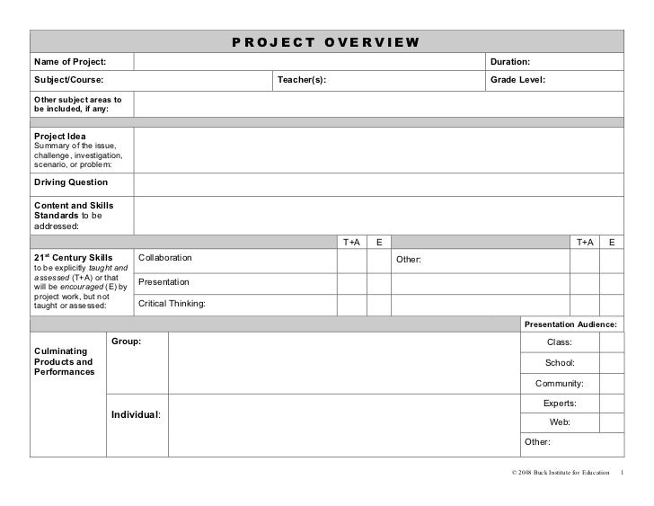 Buck project planning forms for Inquiry based learning lesson plan template